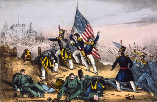 The storming of Chapultepec, where Francis Fox was wounded (Library of Congress)