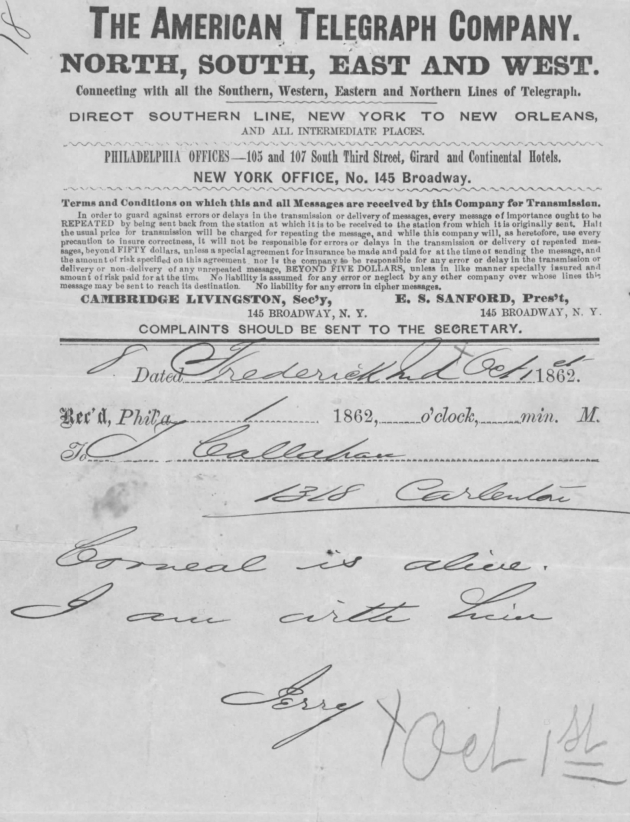 "the first telegram sent to the Callahan family in Philadelphia, after ""Jerry"" had located their wounded son (NARA/Fold3)"