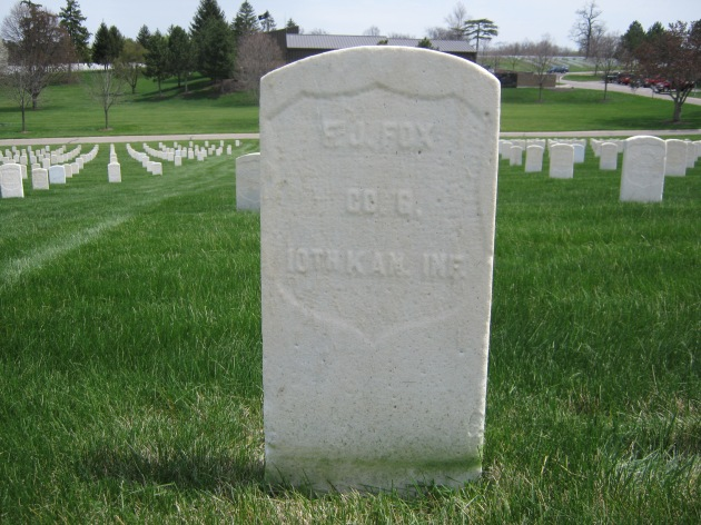 The grave of Francis J. Fox from Athlone at Dayton National Cemetery (Wade Davis)