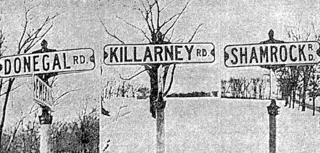 Street signs of Erin, Wisconsin, shown in the Irish Press of 22nd March 1961 (Irish Press)