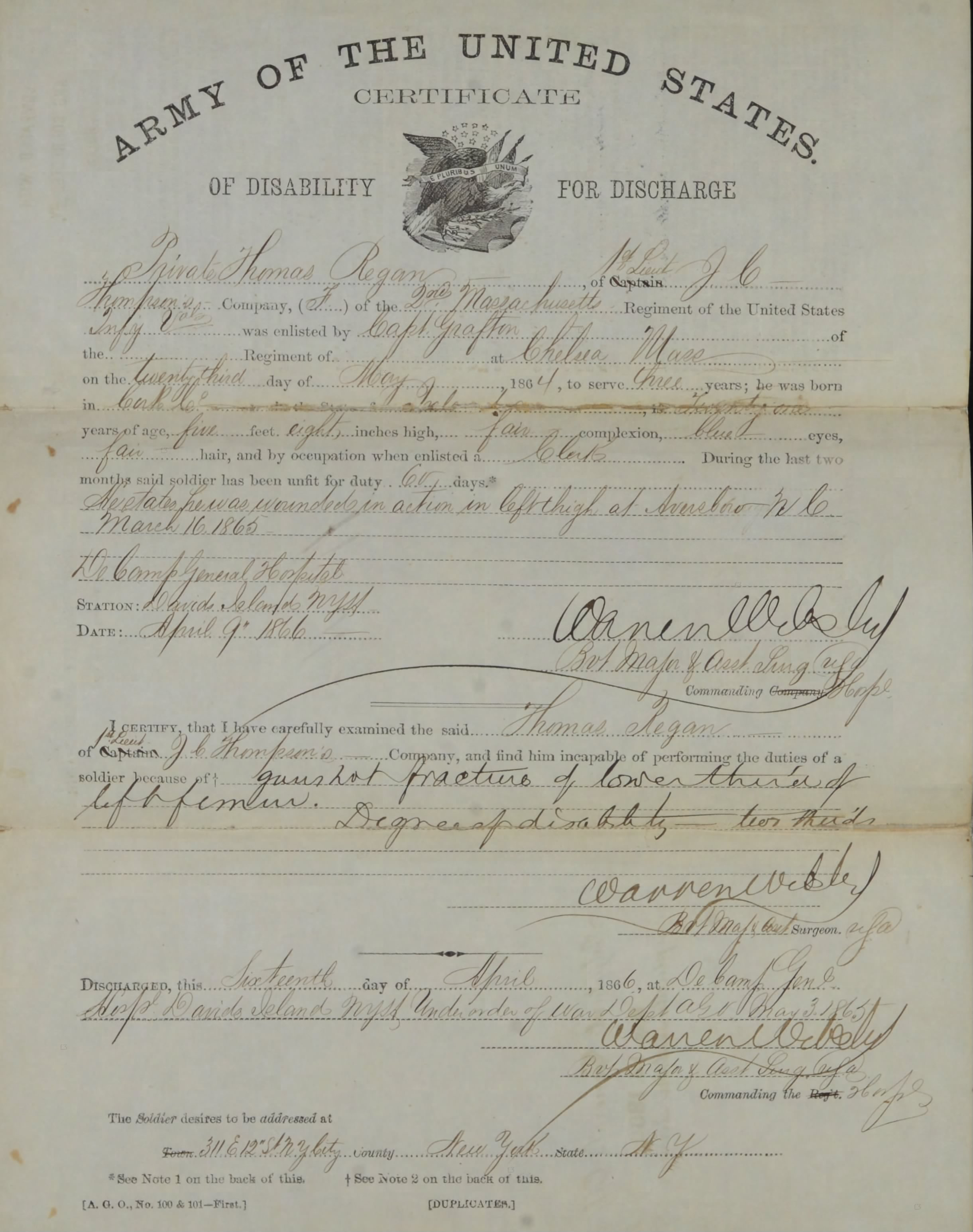 Thomas Regan's 1866 Discharge Certificate (NARA)