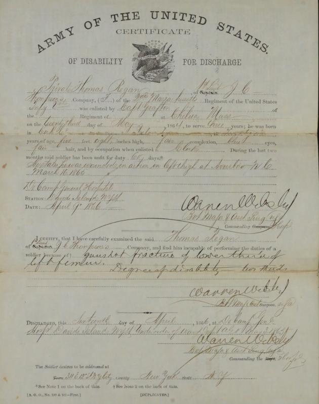 Thomas Regan's 1866 Discharge Certificate (NARA)