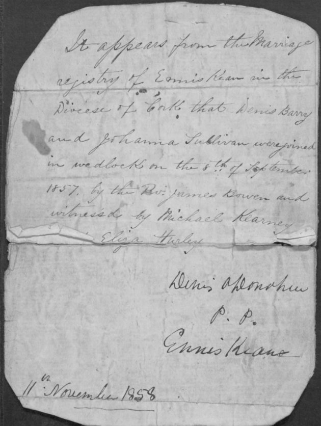 Marriage Certificate of Denis and Johanna Barry (NARA/Fold3)